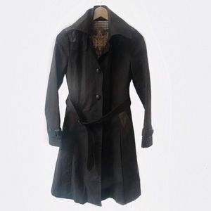 Mackage Leather Accented Cotton Trench Coat XS
